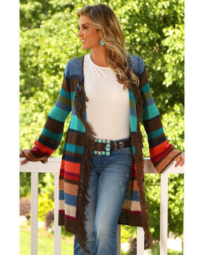 Wrangler Women's Fringe Sweater Cardigan, Multi, hi-res