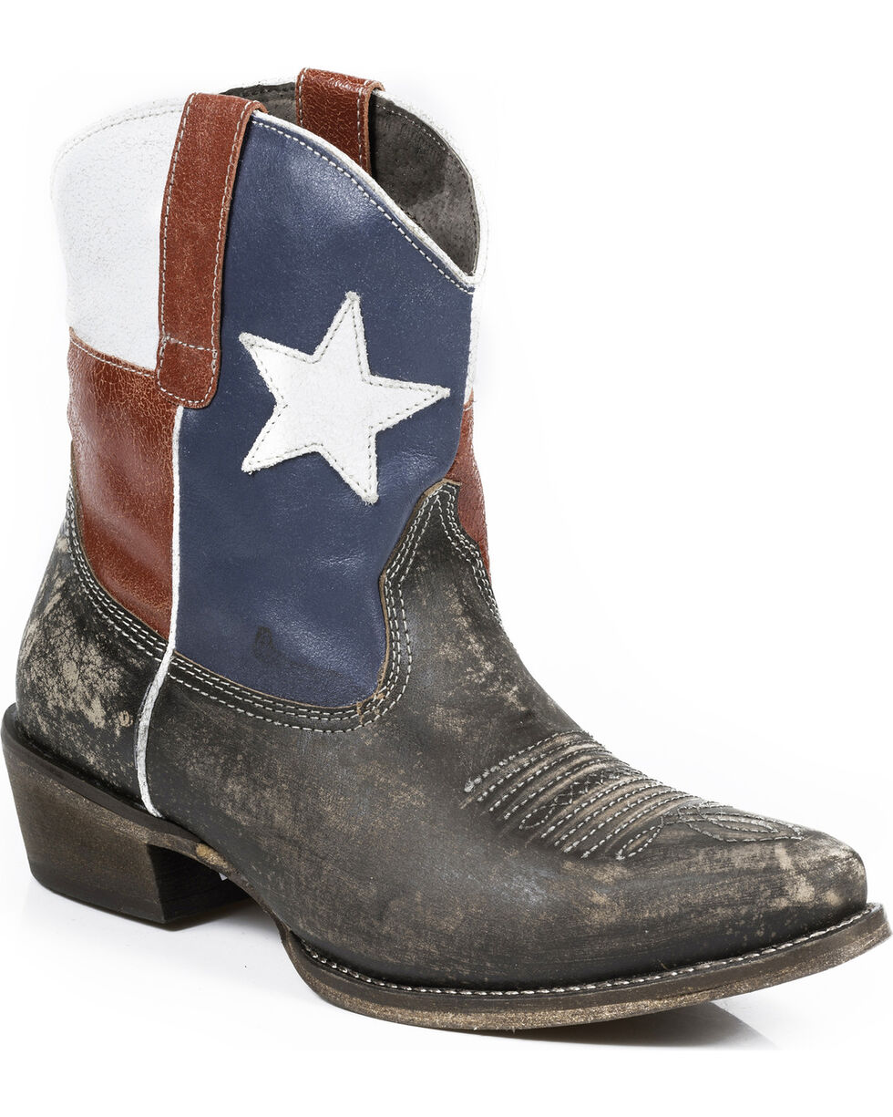 Roper Texas Beauty Shorty Cowgirl Boots - Snip Toe , Brown, hi-res