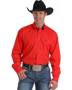 Cinch Men's Red Solid Long Sleeve Shirt, Red, hi-res