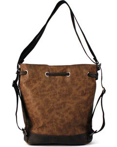 Treska Brown Tooled Drawstring Bucket Bag, Dark Brown, hi-res