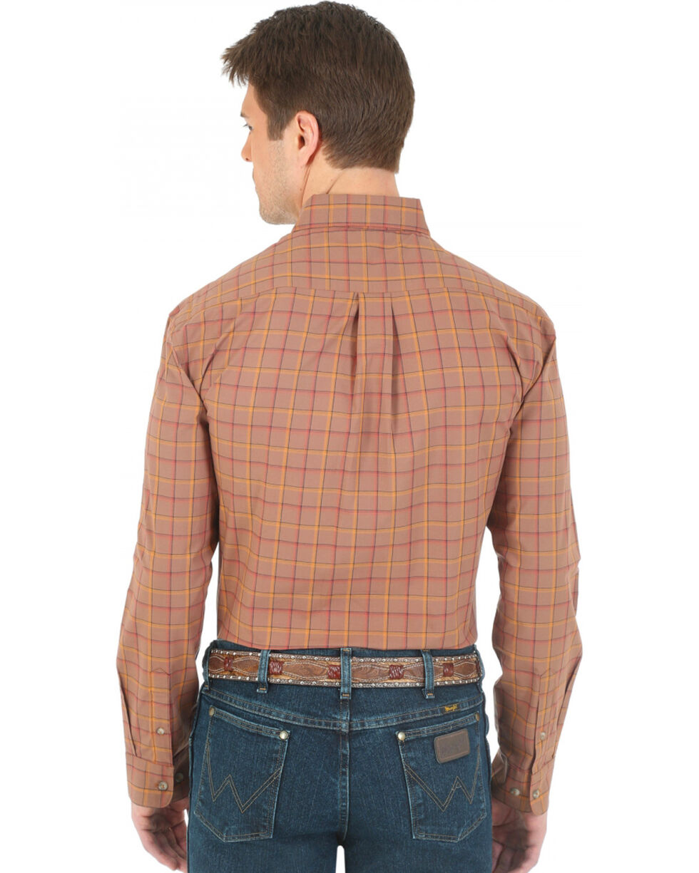 Wrangler Advanced Comfort Brown and Orange Plaid Western Shirt, Brown, hi-res