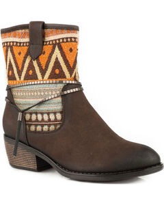 Roper Women's Brown Rios Tribal Pattern Western Boots - Round Toe, Brown, hi-res