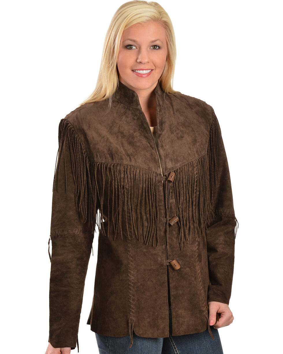 Scully Fringe Boar Suede Blazer, Chocolate, hi-res