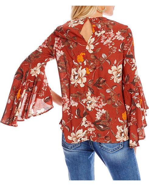 Miss Me Women's Floral Print Bell Sleeve Peasant Top, Burgundy, hi-res