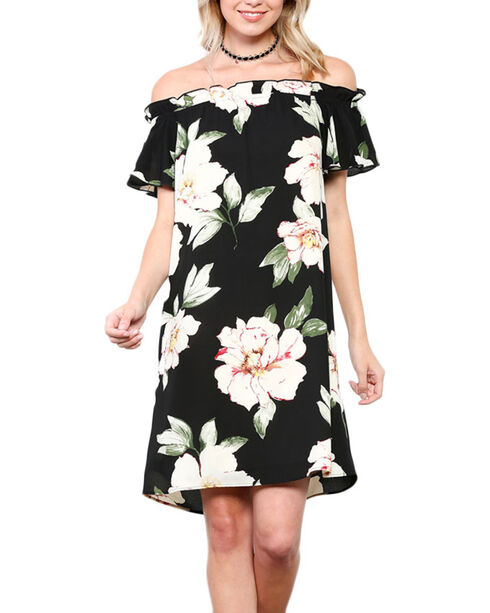 CES FEMME Women's Black Floral Printed Shoulder Dress , Black, hi-res