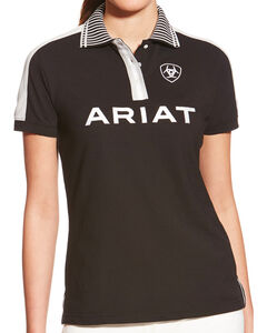 Ariat Women's Black FEI New Team Polo, , hi-res