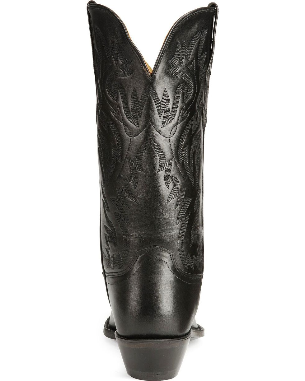 Old West Leather Cowboy Boots - Snip Toe, Black, hi-res