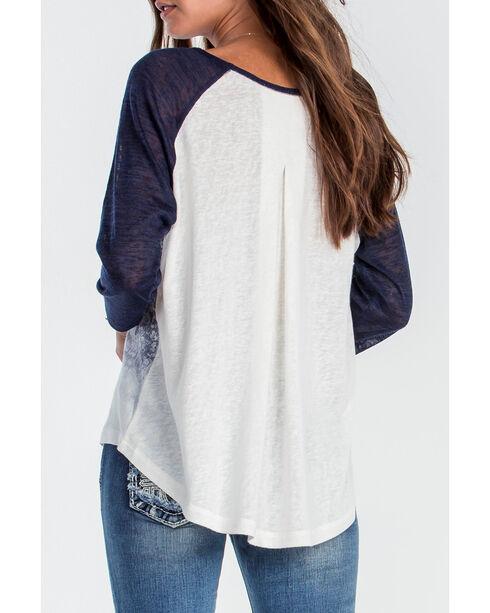 Miss Me Women's Navy Printed Baseball Shirt, Navy, hi-res