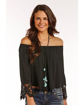 Panhandle Women's Lace Trimmed Sleeves Crinkle Peasant Top, Black, hi-res