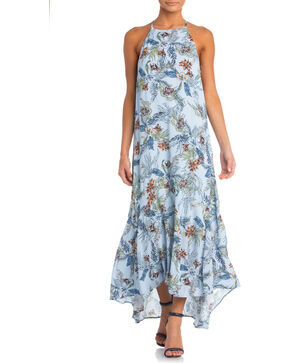 Miss Me Floral Print Maxi Dress, Light Blue, hi-res