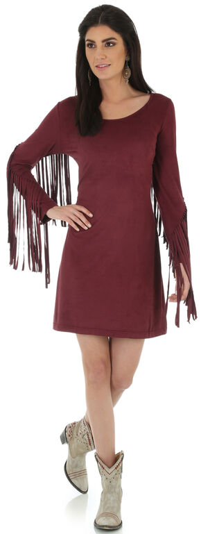 Wrangler Women's Wine Faux Suede Fringe Sleeve Dress, Wine, hi-res