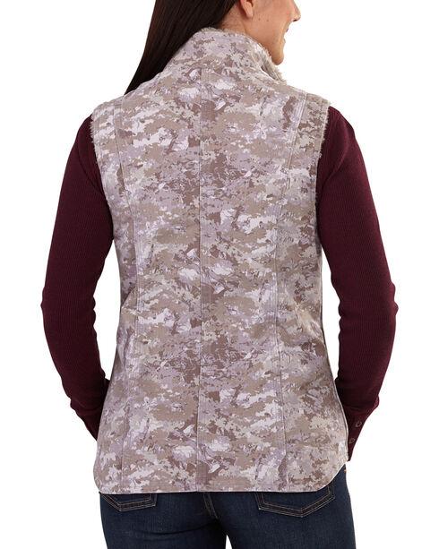 Carhartt Women's Hybrid Camo Printed Sandstone Mock Neck Vest , Purple, hi-res