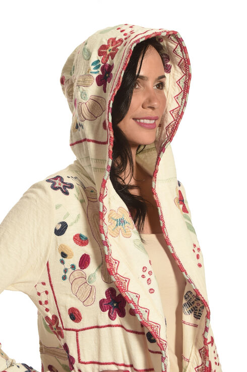 Johnny Was Women's Natural Doshi Hoodie , Natural, hi-res