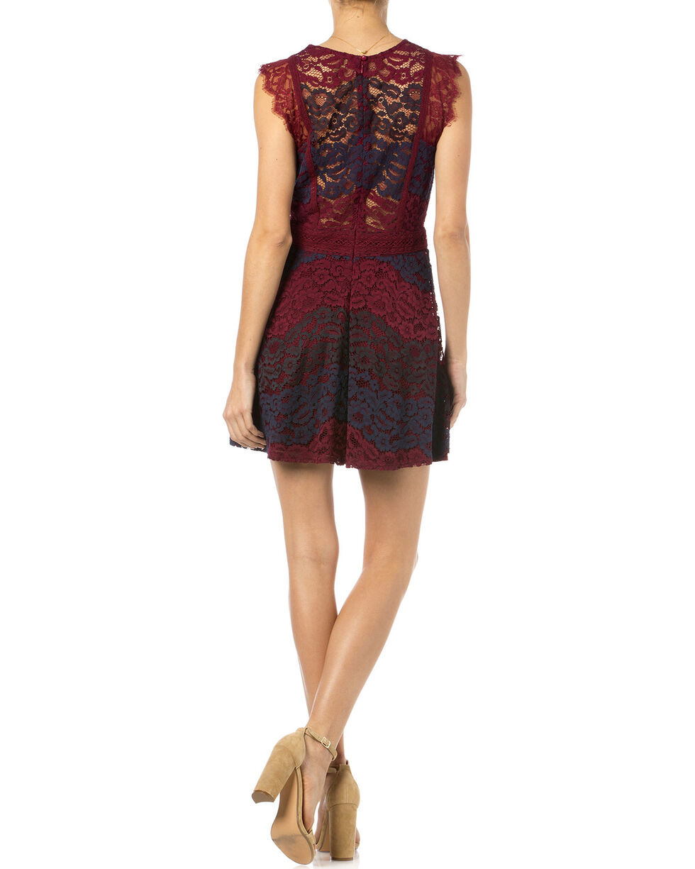 Miss Me Sleeveless Lace Dress, Burgundy, hi-res