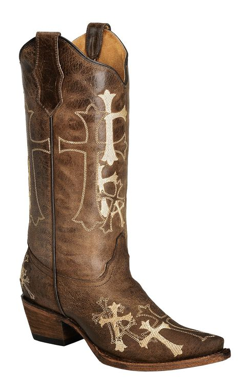 Circle G Beige Cross Embroidered Cowgirl Boots - Snip Toe, Brown, hi-res
