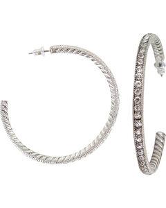 Shyanne Women's Glittering Hoop Earrings, Silver, hi-res