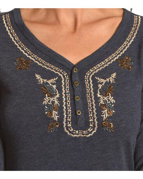 Shyanne Women's Long Sleeve Henley, Blue, hi-res
