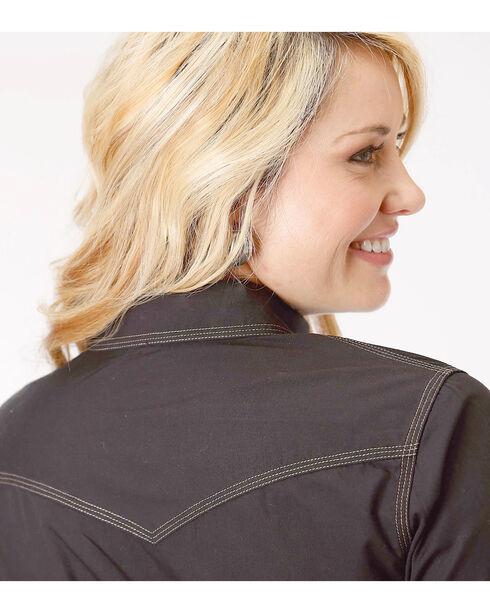 Roper Women's Black Long Sleeve Western Style Snap Shirt, Black, hi-res