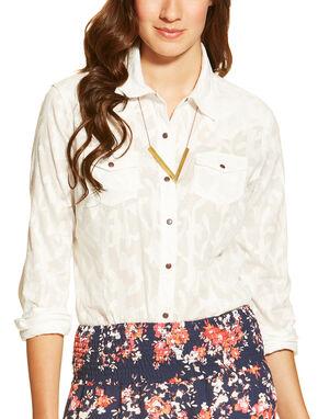 Ariat Women's Maggie Snap Shirt, White, hi-res