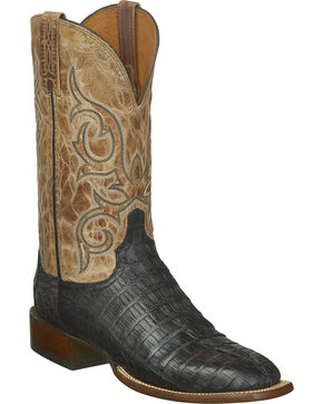 Lucchese Men's Haan Hornback Caiman Tail Western Boots - Square Toe, Black, hi-res