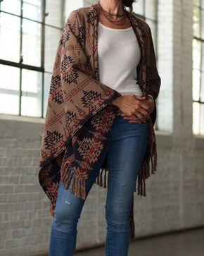 Ryan Michael Women's Raven Aztec Cross Reversible Shawl , Multi, hi-res