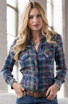 Ryan Michael Women's Indigo Cloud Plaid Shirt, Indigo, hi-res