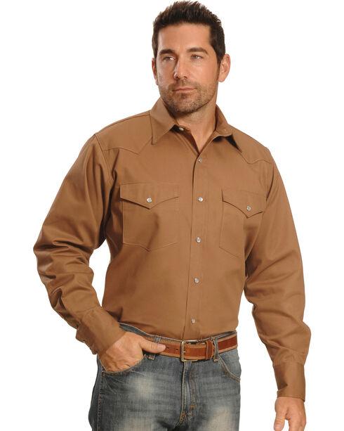 Crazy Cowboy Men's Tan Western Work Shirt - Big & Tall, Tan, hi-res