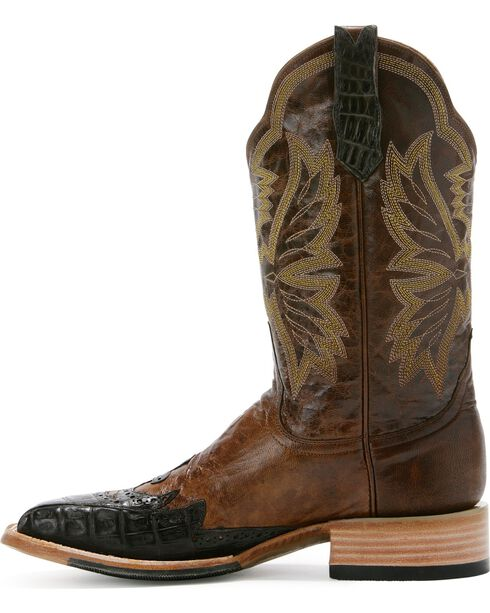 Cinch Caiman Wingtip Cowboy Boots - Square Toe, Chocolate, hi-res