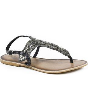 Roper Women's Silver Leather Cooper Metal Beaded Thong Sandals , Black, hi-res