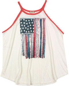Eyeshadow Women's Mixed Pattern American Flag Graphic Tank - Plus, Ivory, hi-res