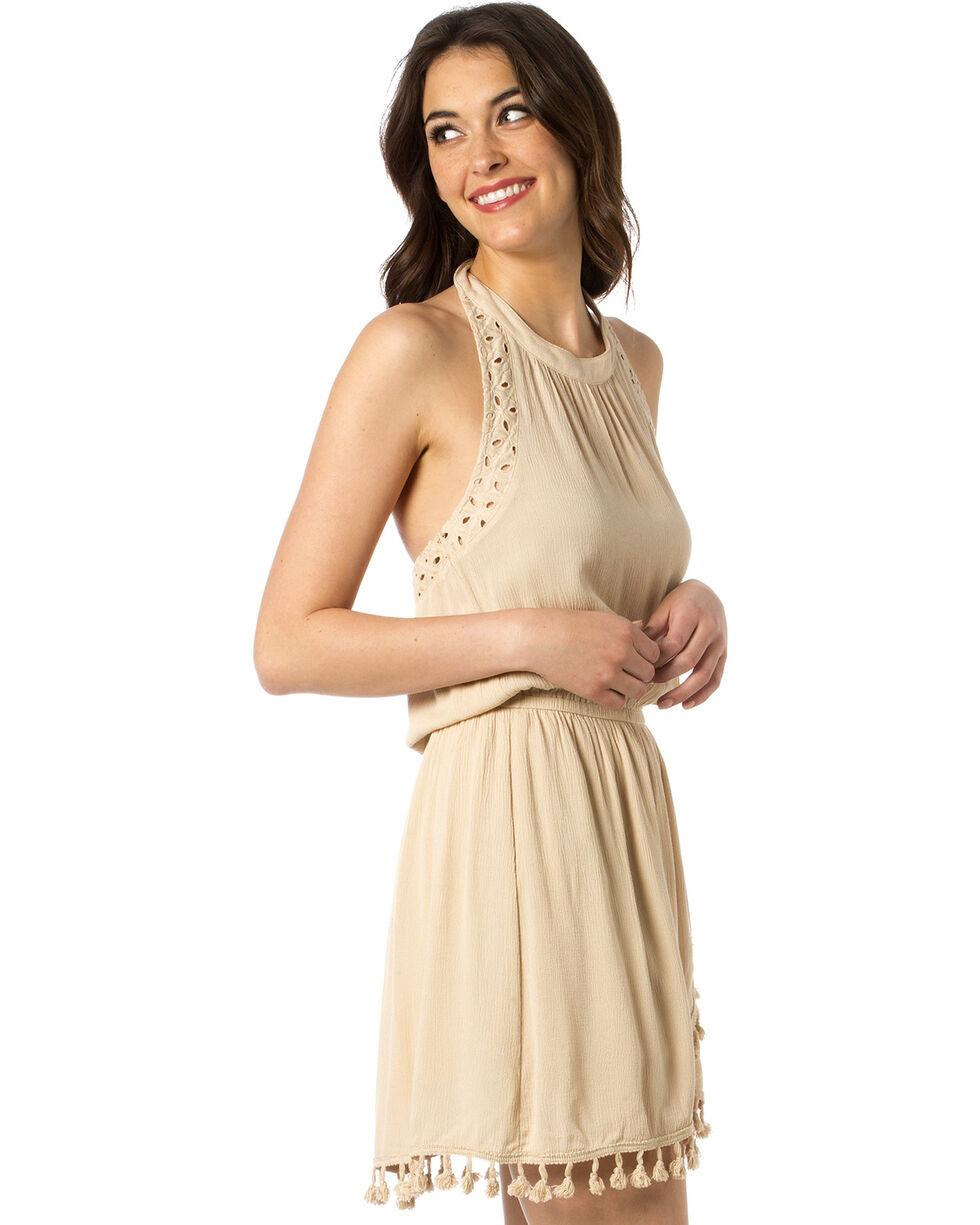 Miss Me Women's No Love Lost Tassel Fringe Dress, Taupe, hi-res