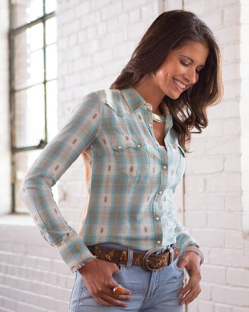 Ryan Michael Women's Mixed Ombre Dobby Plaid Shirt, Sky, hi-res