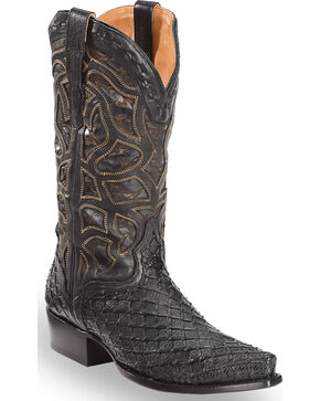 El Dorado Men's Basket Weave Black Cowboy Boots – Snip Toe , Chocolate, hi-res