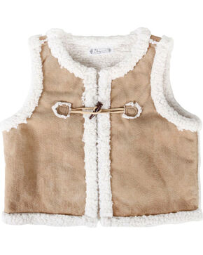 Shyanne Girls' Sherpa Vest , Brown, hi-res