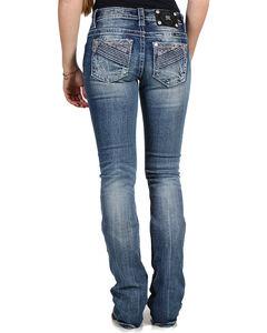 Miss Me Women's Medium Wash Mid Rise Jeans - Boot Cut, Blue, hi-res