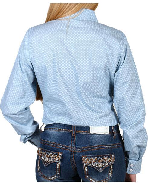 Shyanne Women's Diamond Print Long Sleeve Western Shirt, Light/pastel Blue, hi-res