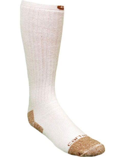 Carhartt White Full Cushion Steel-Toe Cotton Work Boot Socks - 2 Pack, White, hi-res