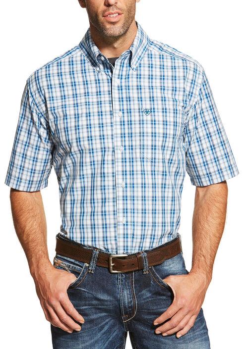 Ariat Men's Blue Short Sleeve Dominic Shirt, Blue, hi-res