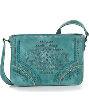 Montana West Women's Southwestern Collection Messenger Bag, Turquoise, hi-res