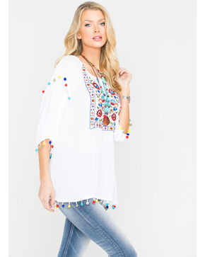 New Direction Sport Women's Pop Pop Trim Embroidered Top , White, hi-res
