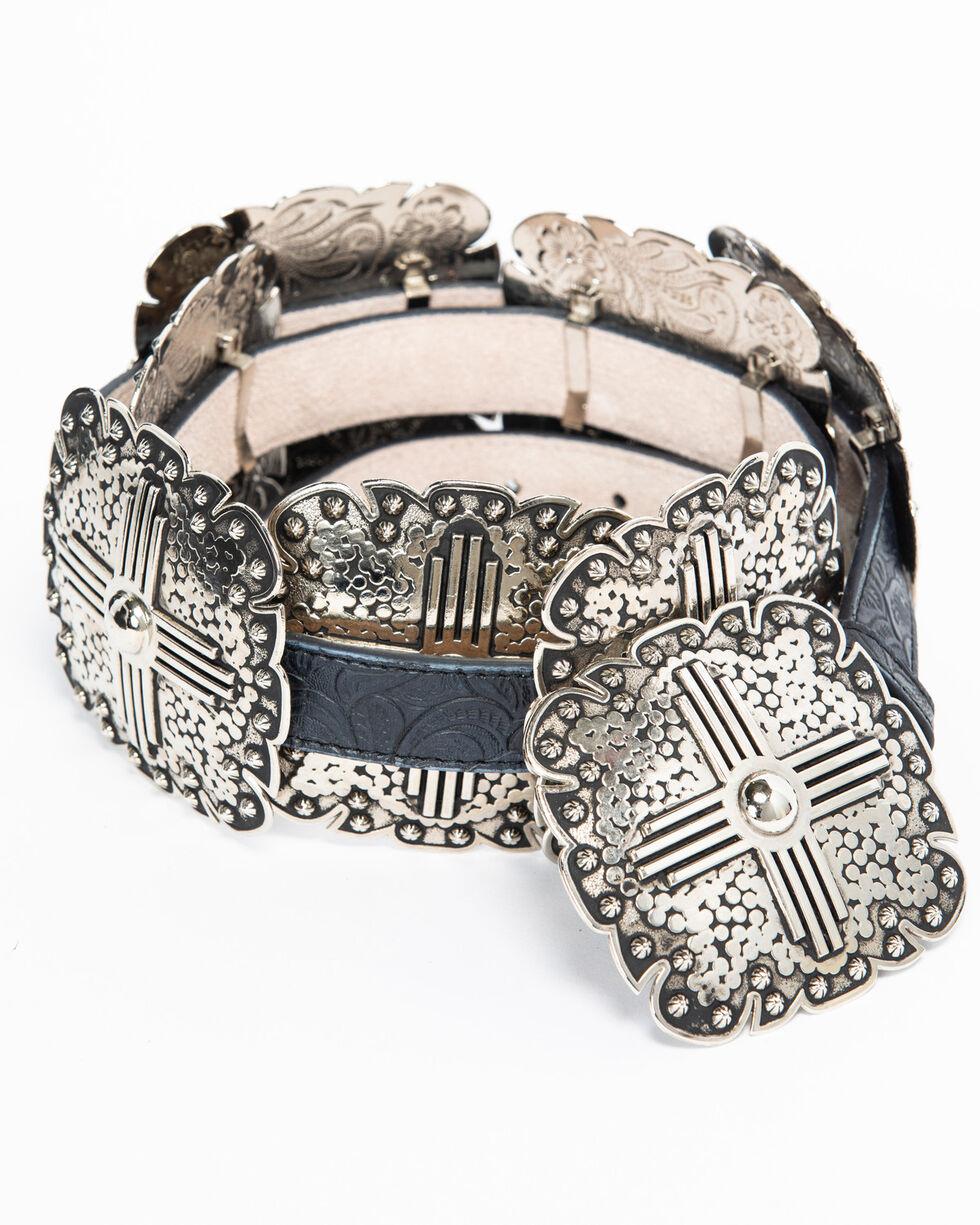 "Angel Ranch Women's 1"" Square Concho Leather Belt, Black, hi-res"
