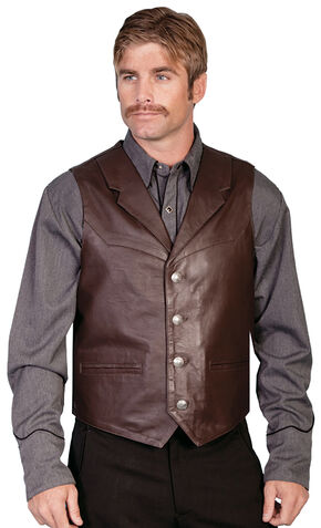 Scully Lambskin Lapel Vest, Brown, hi-res