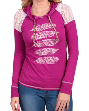 Panhandle Women's Hooded Aztec Feather Long Sleeve Shirt, Pink, hi-res