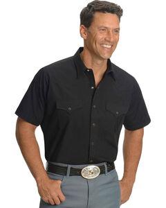 Ely Cattleman Men's Solid Black Short Sleeve Western Shirt, Black, hi-res