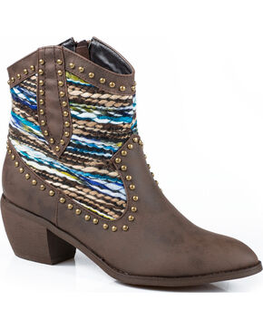 Roper Sweater Short Cowgirl Boots - Round Toe, Brown, hi-res