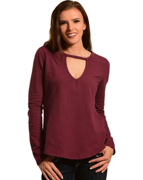 Other Follow Women's Burgundy Keyhole Swing Top, Burgundy, hi-res