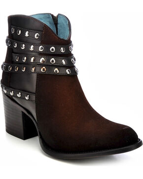 Corral Studded Strap Ankle Boots - Round Toe, Tobacco, hi-res