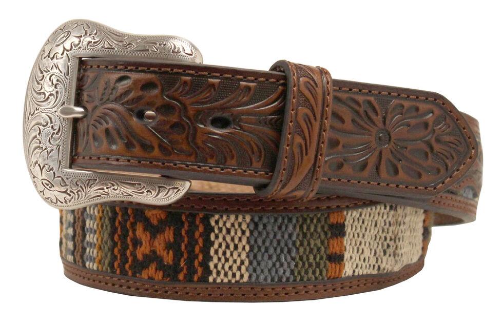 Nocona Ribbon Inlay Tooled Billet Belt, Brown, hi-res