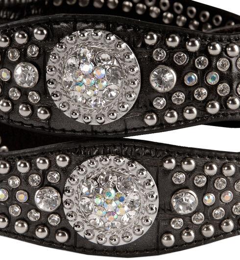 Nocona Rhinestone Embellished Croc Print Leather Belt, Black, hi-res