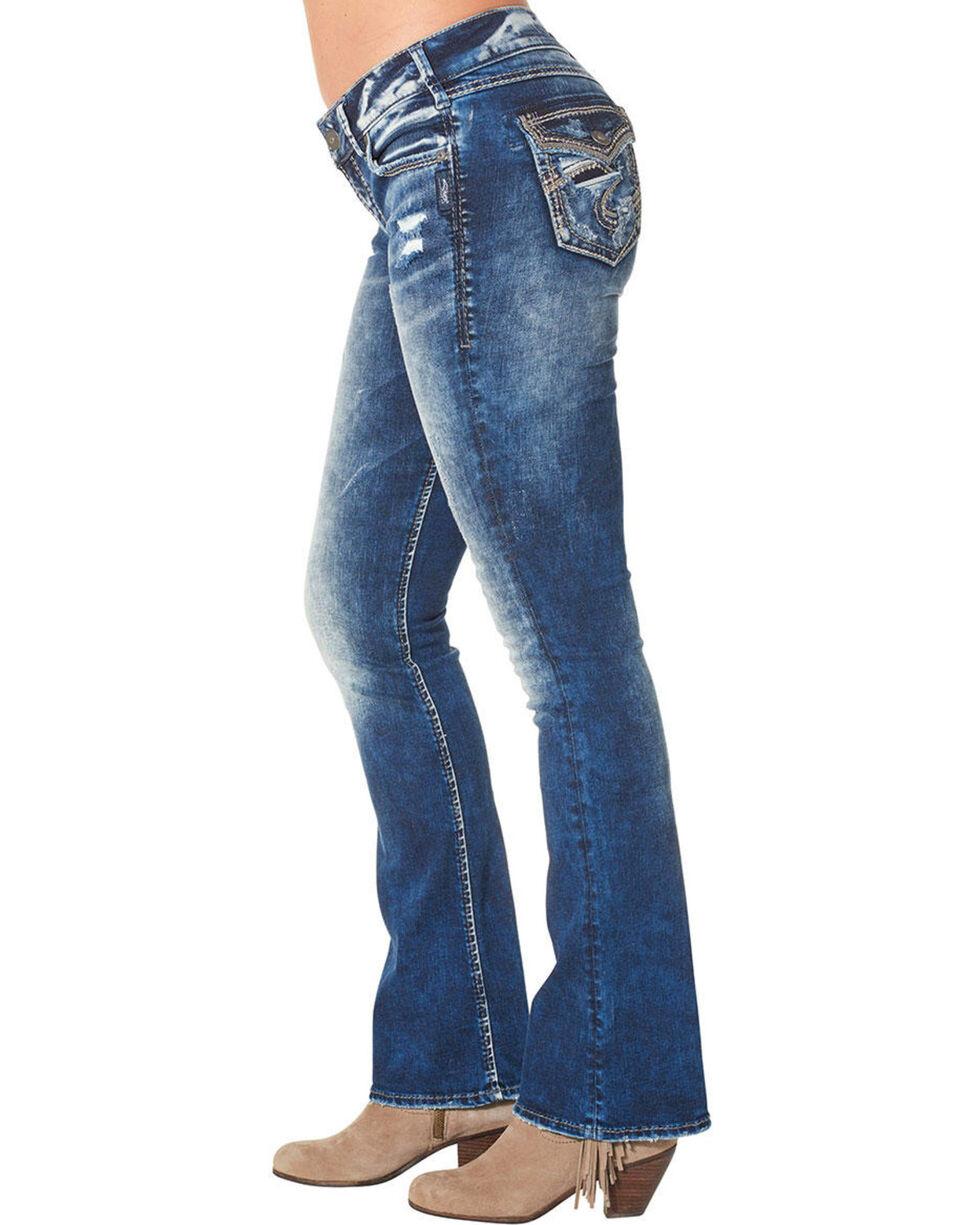 "Silver Women's Elyse Mid Dark Wash Bootcut Jeans - 33"" Inseam, Blue, hi-res"